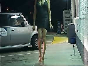 Sunset Strip in tight black mini dress