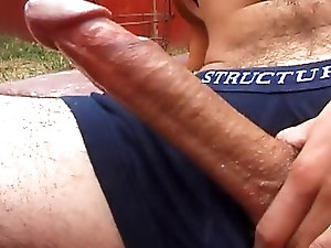 Sexy male stud jerks his huge cock until he busts a nut